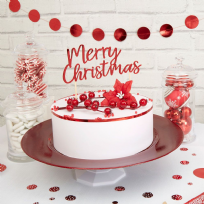 Merry Christmas Red & White Cake Topper